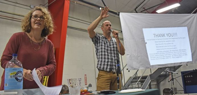 Quizmaster Sarah Marshall, who is also director of Kent Memorial Library, and emcee Steve Pener express their 'thank yous' at the annual Kent Quiz Night on Saturday evening. The fundraising event benefited Kent Memorial Library. Lynn Mellis Worthington Republican-American