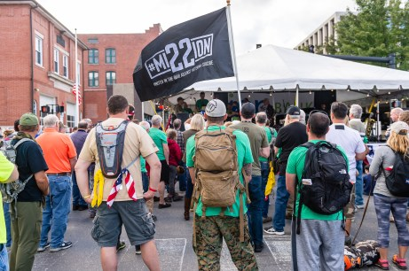 NAUGATUCK, CT. 29 September 2018-092918 - People and Hikers from the 22 kilometer hike standing listening to presentations during third annual Ion Bank/Mission 22 Fall Festival in downtown Naugatuck on Saturday. Bill Shettle Republican-American