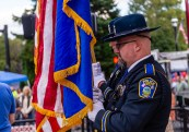NAUGATUCK, CT. 29 September 2018-092918 - The Naugatuck Police Honor Guard stand at attention during a somber ceremony honoring those lost from the community during the third annual Ion Bank/Mission 22 Fall Festival in downtown Naugatuck on Saturday. Bill Shettle Republican-American