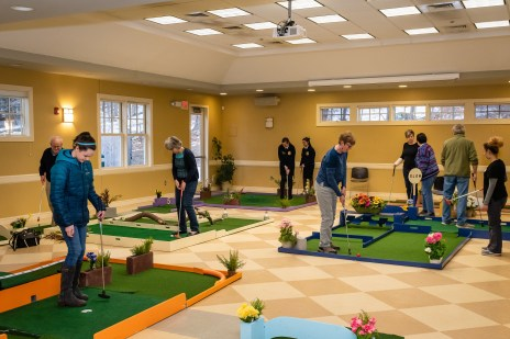 WOODBURY, CT. 15 February 2019-021519 - A packed course. All holes are occupied as people plays the indoor mini-golf course at the Senior Center in Woodbury on Friday. Bill Shettle Republican-American