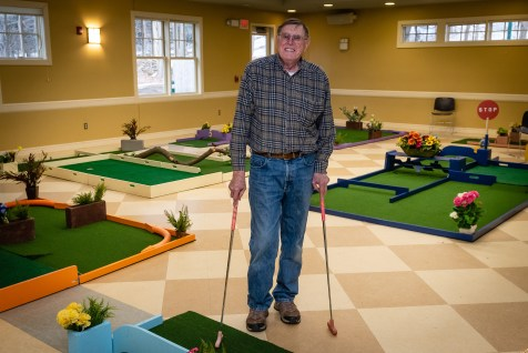 WOODBURY, CT. 15 February 2019-021519 - Charles Bartlett of Oxford, a former Woodbury Board of Selectmen, stands among the nine hole indoor mini-golf course that he fabricated at the Woodbury Senior Center in Woodbury on Friday. Bill Shettle Republican-American