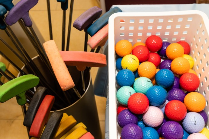 WOODBURY, CT. 15 February 2019-021519 - Colorful golf balls and putters are waiting to picked to play the indoor mini-golf course at the Senior Center in Woodbury on Friday. Bill Shettle Republican-American