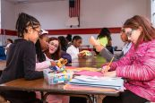 From left, Arihanna Spadola, 8, Essence Smith, 8, Girls Inc Program Director Cailtin McClure, Navaeh McDaniel, 9, and Mia Hernandez, 11, cut up paper designs as they all do some arts and crafts during an after school program at Girls Inc in Waterbury on Friday. Bill Shettle Republican-American