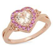 A morganite engagement ring, with morganite a form of beryl, a pink semiprecious stone.