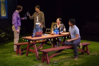 From left, Brian Sgambati, Cindy Cheung, Elizabeth Ramos and Paul Pontrelli in a scene from 'Tiny Beautiful Things,' now playing at Long Wharf Theatre in New Haven. (T. Charles Erickson photo)