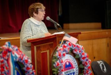 Sharon Waagner of Torrington speaks about the long line of veterans and patriots in her family, and a project she did with her students in the 1990s when students sent letters to soldiers serving in Kuwait during the Gulf War. Waagner brought in items soldiers sent back to the students when she was teaching in Long Lake, N.Y. Jim Shannon Republican-American