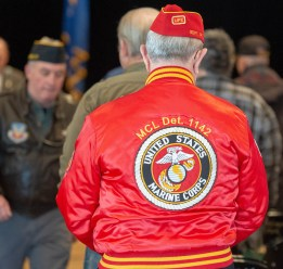TORRINGTON, CT-022819JS03- A United States Marine Corps jacket worn by Gregg Timms during the Torrington Veterans Support Committee's Gulf War Veterans Day Observance Thursday at Coe Park in Torrington. Officials, guests, veterans and current military personnel were on hand to honor veterans of the Gulf War and the War on Terror. Jim Shannon Republican American