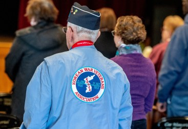 TORRINGTON, CT-022819JS04- A jacket worn by a Korean War veteran during the Torrington Veterans Support Committee's Gulf War Veterans Day Observance Thursday at Coe Park in Torrington. Officials, guests, veterans and current military personnel were on hand to honor veterans of the Gulf War and the War on Terror. Jim Shannon Republican American