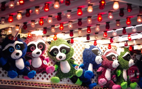 WATERTOWN, CT-043019JS09- Prizes hang on display waiting for fair goers to win them at the opening night of the annual St. Mary Magdalen School's carnival held Tuesday at the school in Watertown. The carnival runs every day through Saturday, May 4, 2019. Jim Shannon Republican American