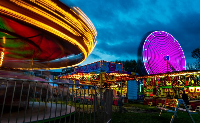 WATERTOWN, CT-043019JS14- Carnival lights fill the dark skies during opening night of the annual St. Mary Magdalen School's carnival held Tuesday at the school in Watertown. The carnival runs every day through Saturday, May 4, 2019. Jim Shannon Republican American