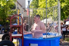 NAUGATUCK, CT. 18 May 2019-051819 - Tim Northrup, a sophomore at Naugatuck High School reacts after someone hit the bullseye and dunking him in very cold water, during the annual Ion Bank/Naugatuck Spring Festival on Church Street in Naugatuck on Saturday. Bill Shettle Republican-American