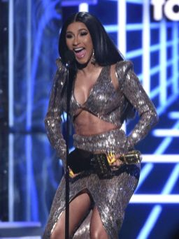 "Cardi B accepts the top rap song award for ""I Like It"" at the Billboard Music Awards on Wednesday, May 1, 2019, at the MGM Grand Garden Arena in Las Vegas. (Photo by Chris Pizzello/Invision/AP)"