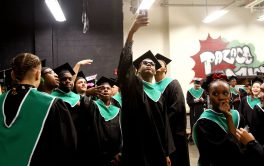 Seniors line up for their ceremony during the Wilby High graduation at the Palace Theater in Waterbury Friday. Steven Valenti Republican-American