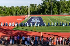 Oxford High graduates enter the football stadium before the commencement ceremonies at Oxford High School on June 11, 2019. Bill Shettle/Republican-American