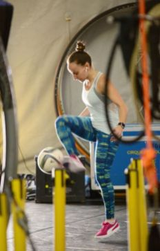 Cirque du Soleil performer Laura Biondo practices the 'Football Dance' backstage during rehearsals for 'Luzia' on June 19. The show opened under the big top on June 19. 'Luzia' continues through to July 21.MICHAEL CHAIKEN