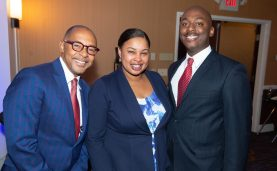 WATERBURY , CT-101219JS40- Event keynote speaker Dr. Jeff Gardere with Aza Mosley and her husband Sean Mosley, at the NAACP of Greater Waterbury's 55th annual Mind Body and Soul Freedom Fund Dinner held Saturday at the Courtyard Marriott in Waterbury. Jim Shannon Republican-American