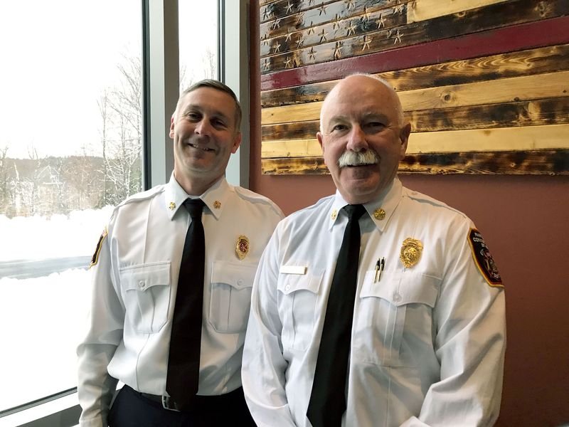 TORRINGTON CT- 8 December 2019- 120819BJ01-- Torrington Fire Chief Peter Towey and Fairfield Fire Chief Denis McCarthy met at the Litchfield County Regional Fire Training School last week to discuss the upcoming statewide testing consortium for new firefighters. Bruno Matarazzo Jr. Republican-American