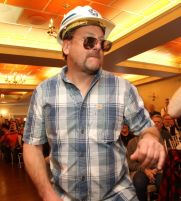 Dan Kobylenski of Goshen portrayed a construction worker in one of the skits in the Possum Queen Contest and Auction at the Litchfield Inn on Wednesday. John McKenna Photo