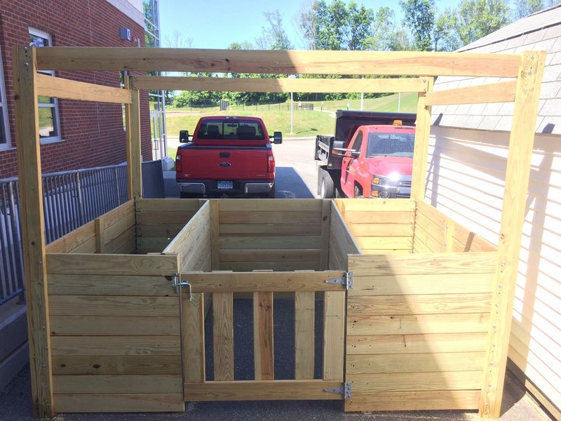This compost bin designed by Jessica Dupont and completed by Terryville High School wood-shop students in the spring of 2018 was not installed in the community garden that summer. Contributed