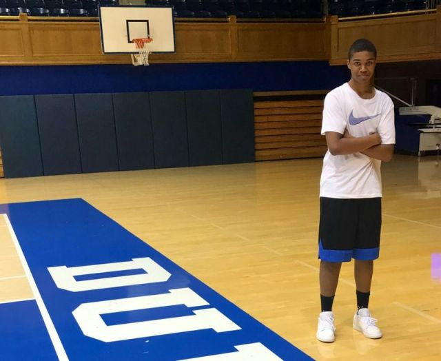 14_NEW_111519MDPHO02 -- WATERBURY -- Waterbury Career Academy student Jaden Bracey poses on the basketball court at Duke University. Contributed by the Bracey family
