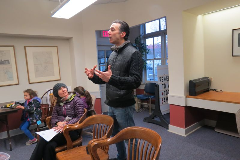 Patrick Lockton talks to the Salisbury Board of Selectmen on Monday about the possible use of the old railroad station. Looking on is Athena Fliakos, who is working with Lockton on a proposal. Ruth Epstein Republican-American