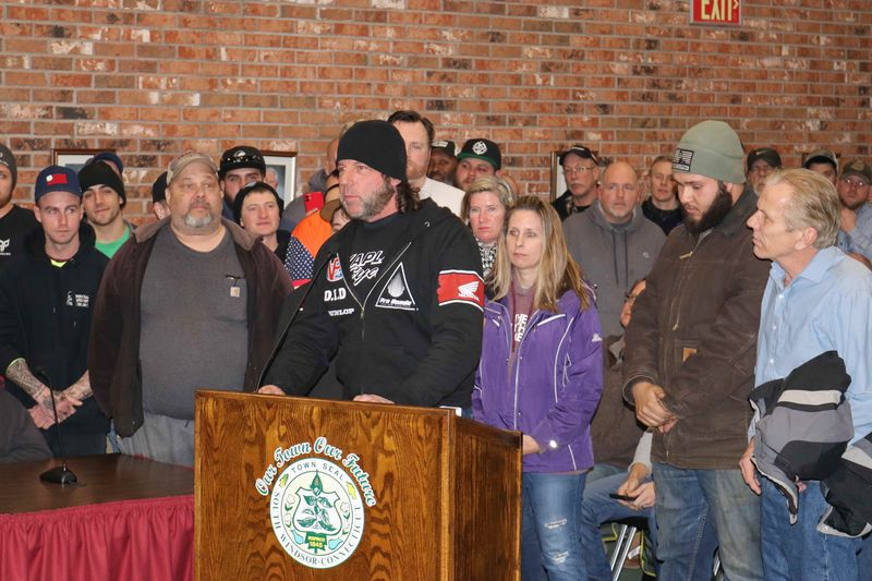 Bud Wilkinson Republican-American Ken Kaplan of the New England Motorcycle Museum addresses the town council in South Windsor on Monday night, backed by some of the hundreds of riders who showed up to protest a possible nuisance ordinance aimed at off-road riders of motorcycles and ATVs.