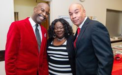 """Kevin Clark, Chairman of the Waterbury NAACP Youth Council, Arlana Brantley, Youth President and Brother James Gibson, at the """"Men with a Purpose"""" luncheon, a Dr. Martin Luther King, Jr. event celebrating men, at Grace Baptist Church in Waterbury. The event was sponsored by the Waterbury NAACP Youth Council.Jim Shannon Republican-American"""
