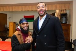 """Thomas Cornell, left, and Yahmad Rountree, right, at the """"Men with a Purpose"""" luncheon, a Dr. Martin Luther King, Jr. event celebrating men, at Grace Baptist Church in Waterbury. The event was sponsored by the Waterbury NAACP Youth Council.Jim Shannon Republican-American"""