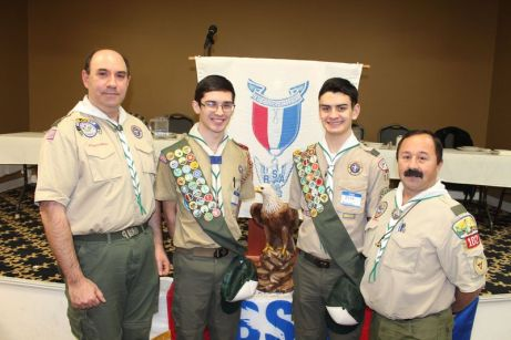 Troop 102, from left: Joe Sarno, Johnathan Lauer, Jeffrey Bonnardi and Scoutmaster Joe Ascencao