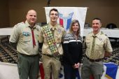 Troop 230, from left, Manny Zabbara, Eagle Domenic Maldonada, his mother Terry Brook, and Scoutmaster Pete GrassoOn Jan. 18 the Boy Scouts of America Eagle class of 2019 was recognized at the Elks Social Hall in Waterbury. The class was one of the largest, with 55 newly minted Eagle Scouts from Greater Waterbury. The class completed more than 5,000 hours in Eagle service projects to help the community.