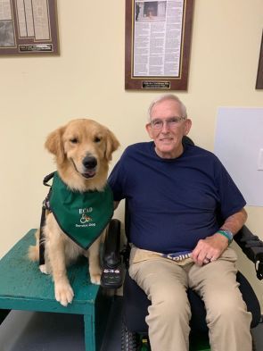 ECAD Client and Vietnam Veteran Brian Greenleaf and Service Dog Passsion from Enfield.