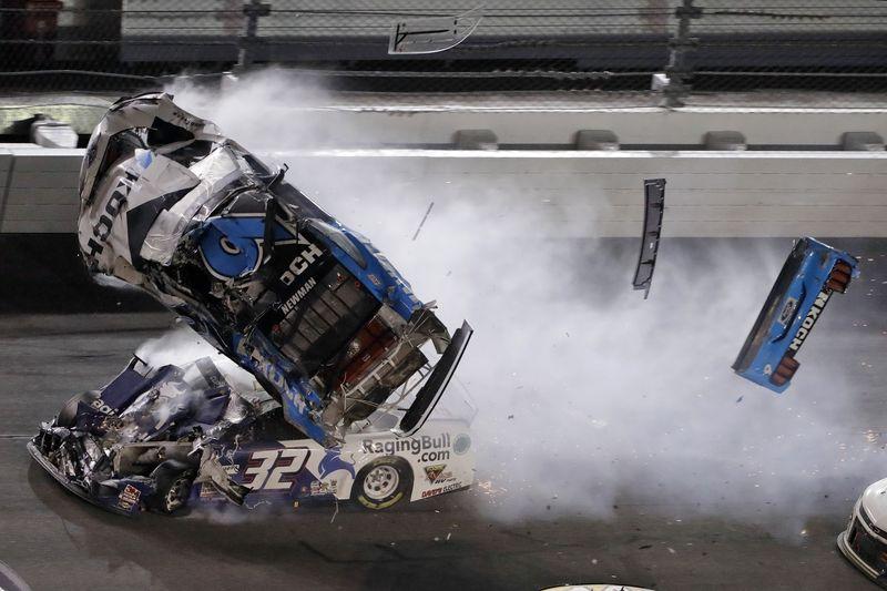 Ryan Newman (6) goes airborne after crashing into Corey LaJoie (32) during the NASCAR Daytona 500 auto race Monday, Feb. 17, 2020, at Daytona International Speedway in Daytona Beach, Fla. Sunday