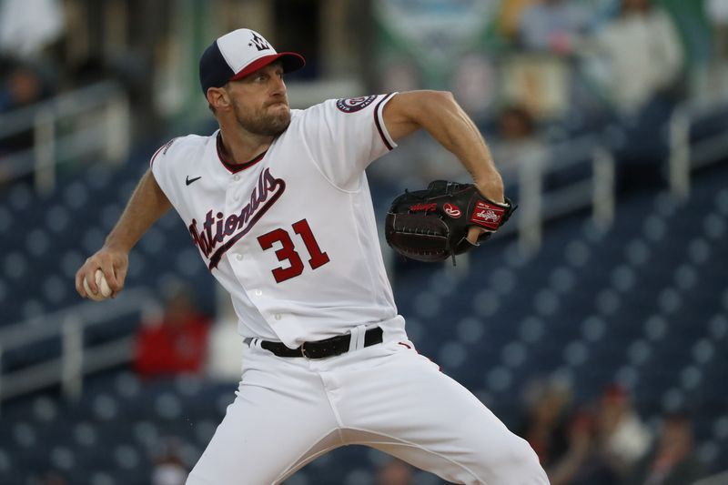 Washington Nationals pitcher Max Scherzer throws during the first inning of a spring training baseball game against the Houston Astros Thursday, Feb. 27, 2020, in West Palm Beach, Fla. (AP Photo/Jeff Roberson)
