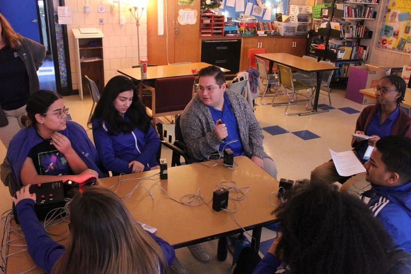 The Crosby High School LifeSmarts quiz team -- Samantha Martinez, Allyson Orellana, Zachary Petrarca,Yosmeiris Castro and Kejsi Ozuni, practice for the national competition in Kelly Donahue