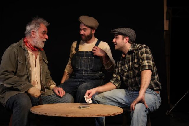 From left, Will Jeffries, Ian Diedrich and Rob Girardin star in 'Of Mice and Men' at Landmark Community Theatre at the Thomaston Opera House. (Photo by Aaron Westcott)