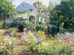"""""""In Voorhees Garden,"""" 1914, by Matilda Browne (1869-1947); Oil on canvas. On exhibit at the Florence Griswold Museum in Old Lyme."""