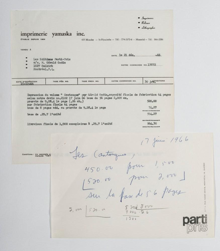 Facture de l'Imprimerie Yamaska aux Éditions Parti pris pour l'impression du recueil de poèmes Les Cantouques de Gérald Godin