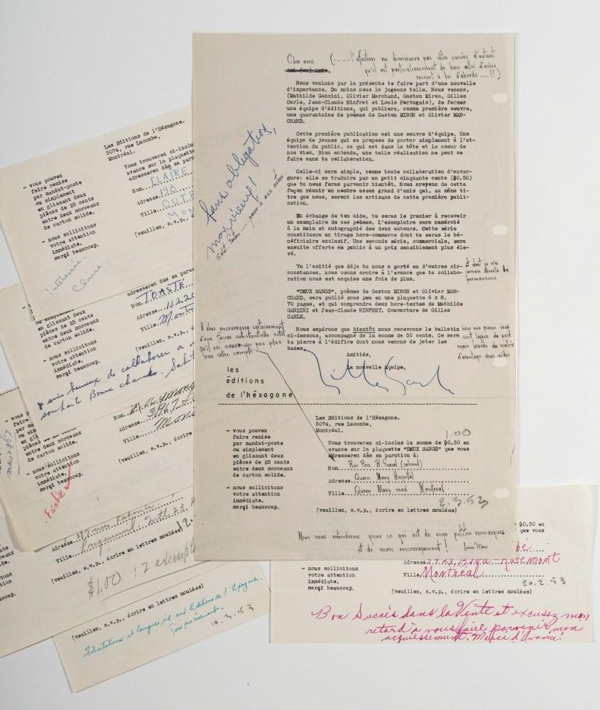 Prospectus de souscription des Éditions de l'Hexagone pour la parution du recueil de poèmes