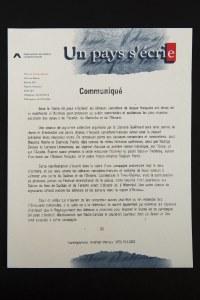 Un pays s'écrie. Communiqué de presse. Regroupement des éditeurs franco-canadiens.