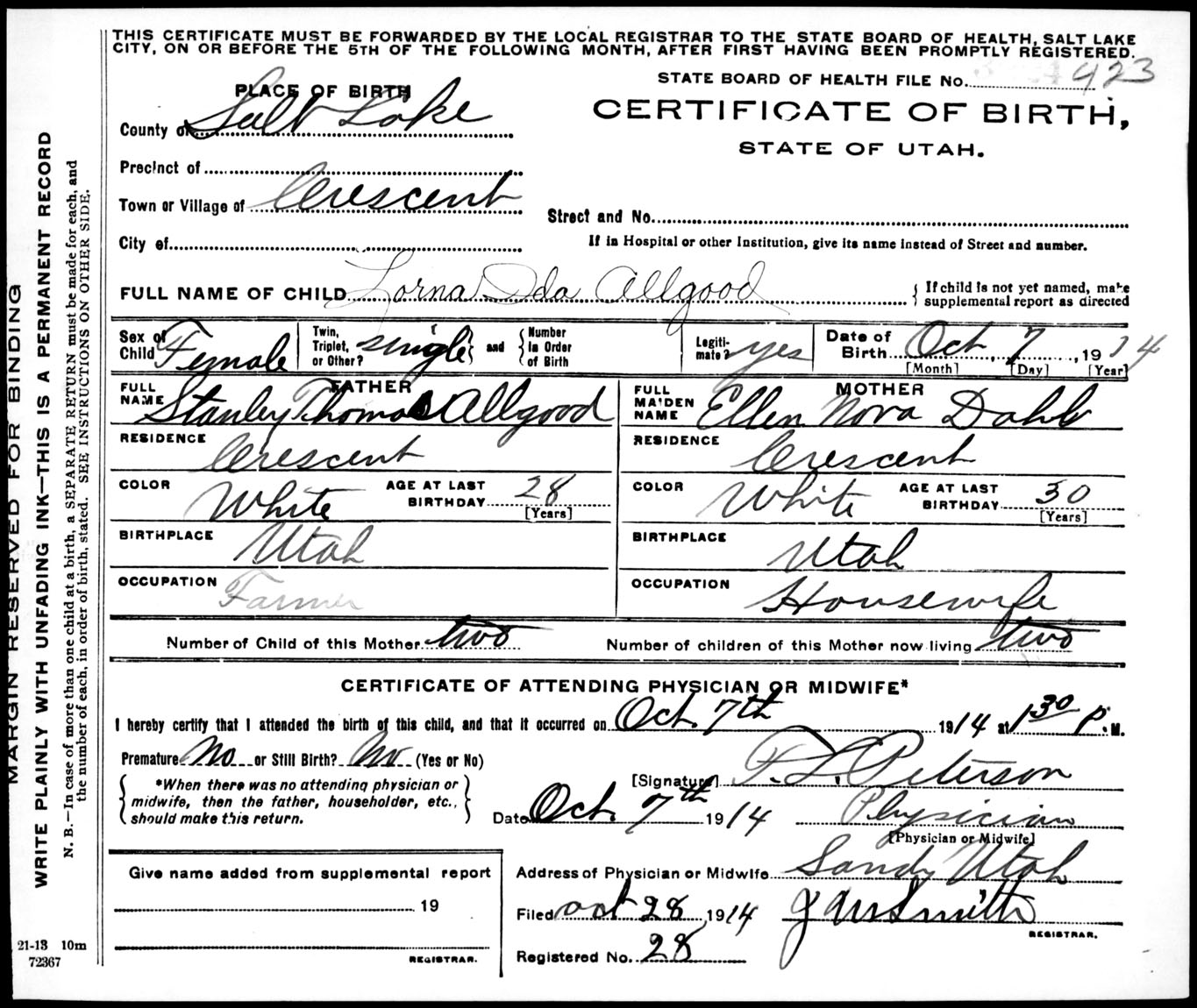 Browse Birth Certificates Online: 1914 - Utah State Archives