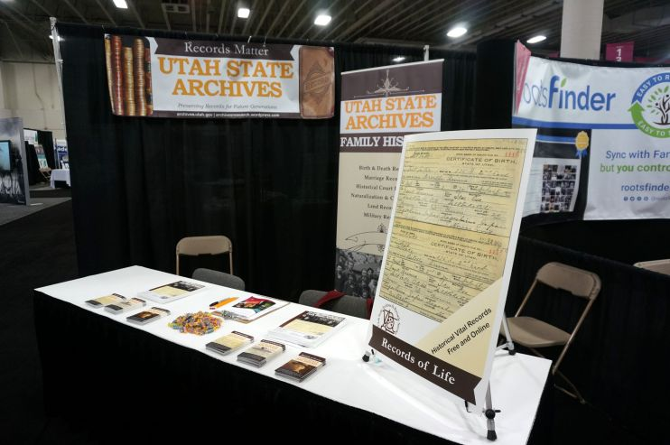 Utah State Archives booth at RootsTech 2017