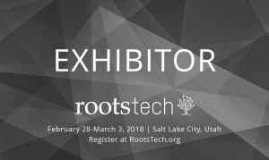 Exhibitor badge for RootsTech 2018