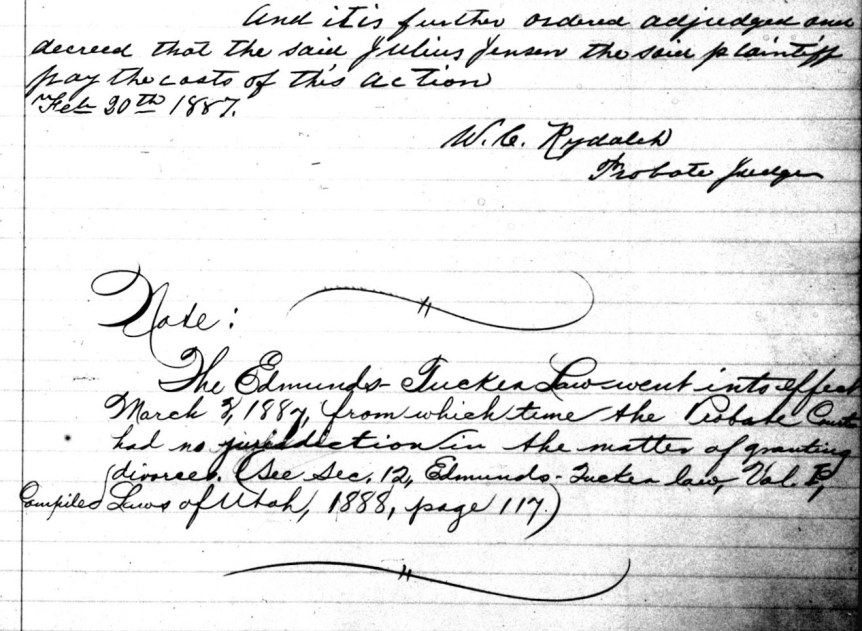 Image of page in the divorce record book showing a note regarding the implementation of the Edmunds_Tucker Act.