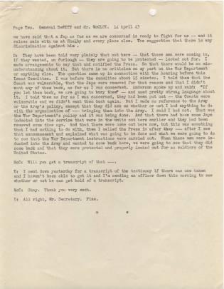 Transcript of telephone conversation between Gen. DeWitt and Asst Secretary of War McCloy p2