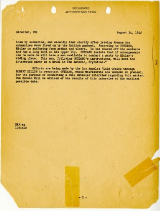 Report of Hitler in Argentina, August 1945. FBI Case File 65-53615. P.2.