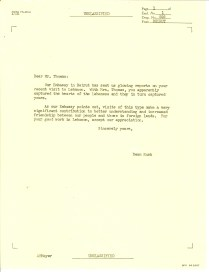 Report regarding Visit to Lebanon of Comedian Danny Thomas, May 8, 1962 p3