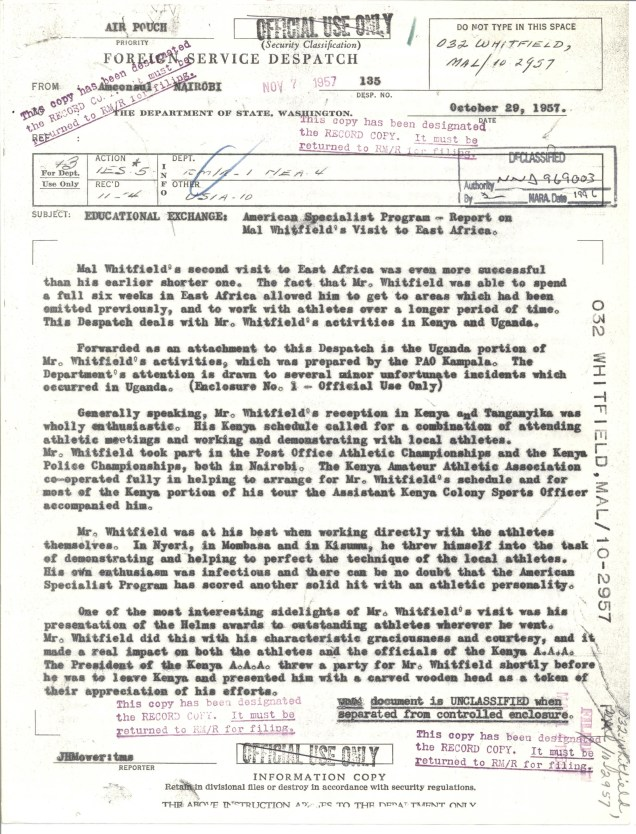 American Consulate Nairobi to Dept of State, Despatch 135 Oct 29, 1957