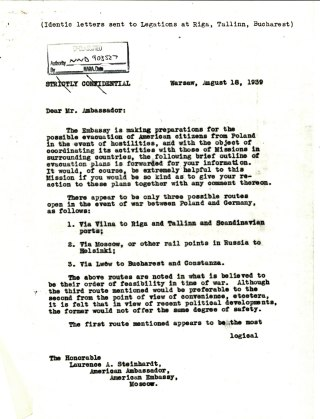 Letter from Ambassador Biddle to Ambassador Steinhardt, August 18, 1939, P.1