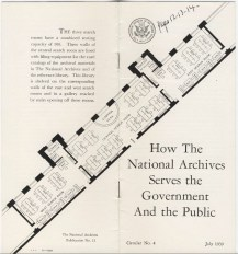 "Pamphlet ""How The National Archives Serves the Government And the Public"" July 1939. (RG 64 P 74)"