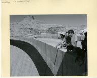 Senator Moss pointing out something to Senator Kennedy atop the Glen Canyon Dam.